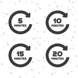 5, 10, 15 i 20 minuty obracania ikon, Zegarów symbole ilustracja wektor