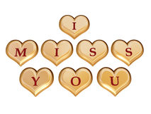 I miss you 1. 3d golden hearts with red letters with text - I miss you, isolated royalty free illustration