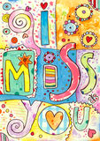 I Miss You. Cute and whimsical artwork with I Miss You creative lettering. Perfect for a greeting card. Created with watercolor and colored pencils Stock Image