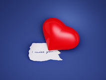 I miss you. Heart on a dark blue background Royalty Free Stock Photography