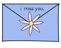 I miss you blue. A letter to a friend- blue envelope is sealed with a pink daisy and has the words i miss you stock illustration