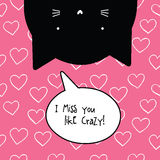 I miss you crazy card. Romantic quote. Stock Images