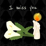 I miss you. Funeral illustration with candle and calla lily Stock Photography