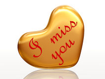 I miss you in golden heart. 3d golden heart, red letters, text - I miss you, isolated vector illustration