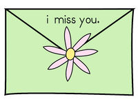 I miss you green. Green envelope with the words i miss you vector illustration