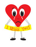 I miss you heart. A heart character holding a banner with the words I miss you royalty free illustration