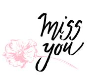 I miss you. I heart you. Valentines day calligraphy card. Hand drawn design elements. Handwritten modern brush lettering. I miss you. I heart you. Valentines stock illustration