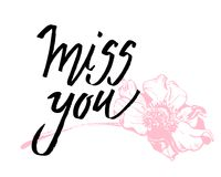 I miss you. I heart you. Valentines day calligraphy card. Hand drawn design elements. Handwritten modern brush lettering. I miss you. I heart you. Valentines vector illustration