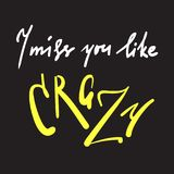 I miss you like crazy - emotional inspire and motivational quote. Hand drawn beautiful lettering. Print for inspirational poster,. T-shirt, bag, cups, card royalty free illustration