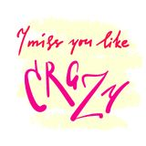 I miss you like crazy - emotional inspire and motivational quote. Hand drawn beautiful lettering. Print for inspirational poster, t-shirt, bag, cups, card royalty free illustration