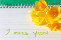 An i miss you message Stock Images