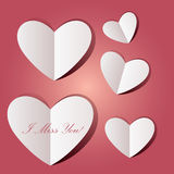 I miss you paper heart blank message stock images