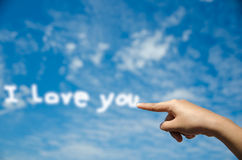 I miss you. By point style on blue sky background concept Royalty Free Stock Image