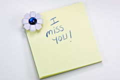 I miss you post it note Royalty Free Stock Photo