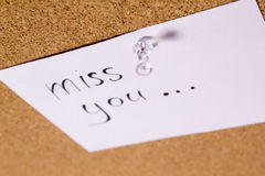 I miss you post it note Royalty Free Stock Photography