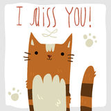 I Miss You postcard. Royalty Free Stock Photo