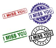 Damaged Textured I MISS YOU Stamp Seals. I MISS YOU seal prints with corroded surface. Black, green,red,blue vector rubber prints of I MISS YOU tag with corroded royalty free illustration