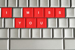 I miss you spelled on metallic keyboard. For Valentine's day Royalty Free Stock Photography