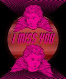 I miss you. Vector poster with hand drawn illustration of Cupids in vaporwave style. Template for card, banner, print for t-shirt, pin, badge, patch stock illustration
