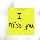 I miss you word on sticky note Stock Photography