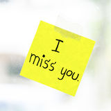 I miss you word on sticky note Stock Images