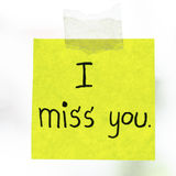 I miss you word on sticky note Stock Photos