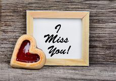 I miss you words on frame Stock Photo