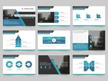 I modelli astratti blu della presentazione, progettazione piana del modello degli elementi di Infographic hanno messo per l'opusc illustrazione di stock