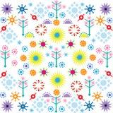 I modelli di fiori degli alberi hanno colorato l'ornamento di simboli su fondo bianco illustrazione di stock