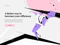 I modelli di progettazione della pagina Web con il responsabile di ufficio hanno colpito il segno Metafora della lancia royalty illustrazione gratis
