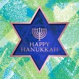 I modelli felici della cartolina d'auguri di Chanukah sul lerciume strutturano il fondo con la struttura della stella di Davide Fotografie Stock