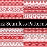 I modelli semaless di natale di vettore nordico di stile hanno ispirato dal Natale scandinavo, l'inverno festivo in punto trasver illustrazione di stock