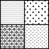 I modelli senza cuciture geometrici etnici semplici in bianco e nero mettono, vector Immagine Stock