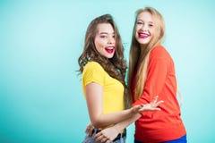 I momenti positivi felici di due ragazze alla moda Immagini Stock Libere da Diritti