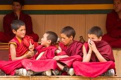 I monaci agitati dei ragazzi a Cham ballano Festiva in Lamayuru fotografia stock libera da diritti