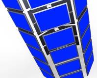 I monitor di Copyspace rappresenta lo schermo piano e lo spazio in bianco Immagine Stock Libera da Diritti