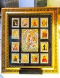 i moskén var Aya Sofia en utställning av ortodoxa attribut Arkivbilder