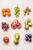 I mucchi dell'estate fresca fruttifica su fondo di legno bianco, vista superiore immagine stock
