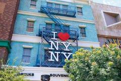 I muestra del corazón NY, nuevo York-nuevo hotel y casino, tira en paraíso, Nevada, Estados Unidos de York de Las Vegas Fotografía de archivo libre de regalías