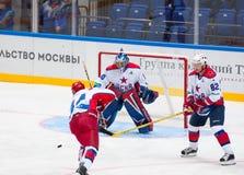 I Mukhometov (90), A Zhdan (82) en V Tsyplakov (44) Stock Foto's