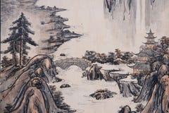 I murali del museo piega di Dunhuang mostrano sugli edifici residenziali Fotografia Stock Libera da Diritti