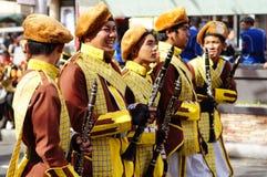 I musicisti di banda giocano il clarinetto durante la mostra annuale del brass band Fotografia Stock Libera da Diritti