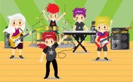 I musicisti e gli strumenti musicali banda rock, gruppo di musica con il concetto dei musicisti della gente artistica vector l'il Immagini Stock Libere da Diritti