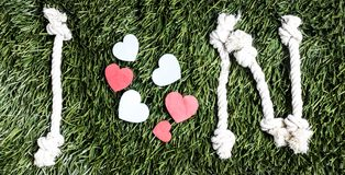 I and N letters and three paper heart cut outs on grass. I and N letters and three paper heart cut outs on grass Stock Photography