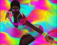 I nastri variopinti accentuano una bella donna africana Fotografia Stock Libera da Diritti