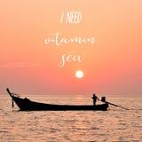 I need vitamin sea at Lipe island. I need vitamin sea. Inspirational quote at Lipe island, Satun, Thailand Stock Photos