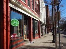 I negozi allineano il marciapiede in Raleigh del centro, Nord Carolina Fotografia Stock