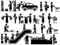 I nero degli uomini delle icone in varie situazioni di vita Immagini Stock