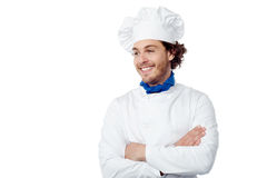 I am the new chef here. Confident male chef looking at copy space Royalty Free Stock Photos