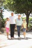 I nonni ed i nipoti sulla campagna dell'estate camminano insieme Immagine Stock